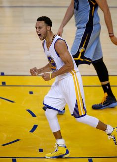 Description of . Golden State Warriors\' Stephen Curry (30) celebrates a basket by Golden State Warriors\' Klay Thompson (11) in the second quarter during their game against the Memphis Grizzlies of Game 5 of the NBA Western Conference semifinals at Oracle Arena in Oakland, Calif., on Wednesday, May 13, 2015.  (Nhat V. Meyer/Bay Area News Group)