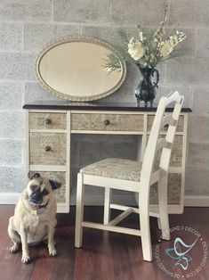 This fabric covered desk is trendy and makes a boring desk pop. It is easy to use fabric on furniture to give a great makeover. by DeDe Bailey