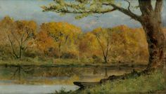 """""""October on the Pawtuxet, RI,"""" Edward Mitchell Bannister, 1896, oil on linen canvas, 15 x 28"""", private collection."""