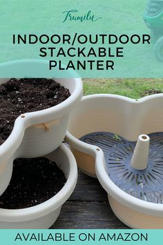 Planter for herbs, strawberries, small vegetables like peppers, succulents, flowers. The container is lightweight so it can be moved, can stack from 2 - 5 planters, hangable when using 3 planters. It's versatile and has slick curvey design. The planter has filters and drainage holes are elevated so it has a reservoir. You can also drill more holes easily for more drainage if you don't need the reservoir. It comes with a tray so no water mess. Extra starting pots included! #trumilu #herbs… Vertical Planter, Herb Planters, Outdoor Planters, Indoor Outdoor, Container Gardening, Indoor Gardening, Strawberry Planters, Kitchen Herbs, Small Gardens