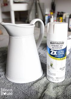 How to Fake Ironstone from Thrift Store F.- How to Fake Ironstone from Thrift Store Finds with spray paint Thrift Store Crafts, Thrift Store Finds, Thrift Stores, Thrift Store Decorating, Thrift Store Shopping, Goodwill Finds, Decoration Originale, Trash To Treasure, Do It Yourself Home
