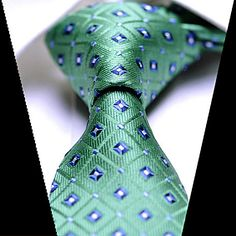 Skinny Tie  Silk Tie Emerald Green Blue White by TheBowTieStation, $15.99