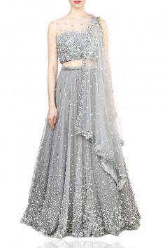 Embellished lehenga, blouse and dupatta - Papa Don't Preach - Designers