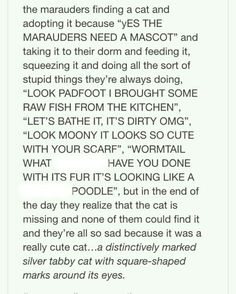 They bathed it and dressed it. Remus swore infront of it. McGonagall has a seen a new side of the Marauders