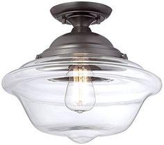 """Schoolhouse 13"""" Wide Bronze Ceiling Light Possini Euro Design http://www.amazon.com/dp/B00JF4EW7E/ref=cm_sw_r_pi_dp_8wNvub00V9PBP"""