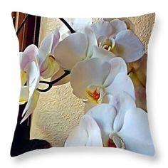 The white  Throw Pillow by Saifon Anaya