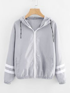 FeiTong Autumn Women Contrast Ribbons Trim Zip Up Hooded Jacket Striped Patched Sleeve Girl Coat Outwear Windbreaker Jacket Style Casual, Casual Fall, Windbreaker Jacket, Hooded Jacket, Fall Jackets, Jackets For Women, Hoodies, Sweatshirts, Trendy Outfits