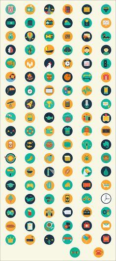 レトロな配色がステキ♪110種類のアイテムをフラットにデザインしたアイコン素材 -Meroo Icons