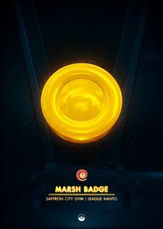 Marsh Badge - by Artkal Kanto Gym Badges, Pokemon Gym Badges, Game Boy, Video Game Anime, Video Games, Rainbow Badge, Popular Pokemon, Gaming Posters, Gym Leaders