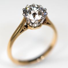 Antique 2.27 Carat Old Euro Diamond Engagement Ring