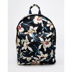 Mi-Pac Backpack in Orchid Floral Print ($42) ❤ liked on Polyvore featuring bags, backpacks, navy, knapsack bags, navy blue bag, rucksack bag, floral bag and navy backpack