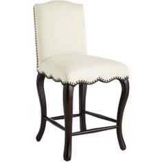 """Seat height 25. 25"""". Spot clean or professional clean only. Parchment. 20""""W x 23""""D x 40""""H. Birch wood, rayon, linen, fiber, polyether foam - Claudineas a real lookera""""French Country styling, natural-hued upholstery, scalloped apron, nailhead trim and alluring cabriole legs. All tailored to perfection. Exactly what youave been looking for."""
