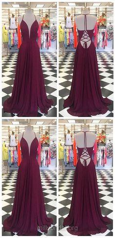 Purple Prom Dresses, Long Prom Dresses, Modest Prom Dresses A-line, V-neck Prom Dresses For Teens, Chiffon Prom Dresses Ruffles #purpledress #prom