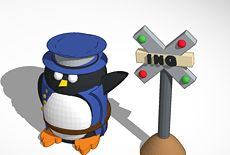 Peter the Penguin as a Train Conductor #penguintimemachine