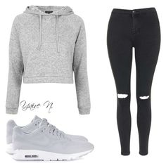 """Untitled #01"" by yairenoyola ❤ liked on Polyvore featuring NIKE, Topshop, women's clothing, women's fashion, women, female, woman, misses and juniors"