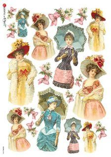 Decoupage paper of many kinds, including decoupage napkins and Italian rice paper sheets. Pub Vintage, Vintage Labels, Vintage Cards, Vintage Woman, Decoupage Vintage, Vintage Paper Dolls, Rice Paper Decoupage, Paper Art, Paper Crafts