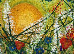 Quilt Art   ... painted art quilt, Everything Under the Sun   Barbara Harms Fiber Art