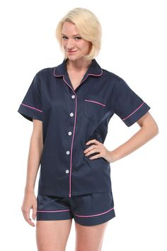 Navy With Pink Sateen Summer Pajama Set