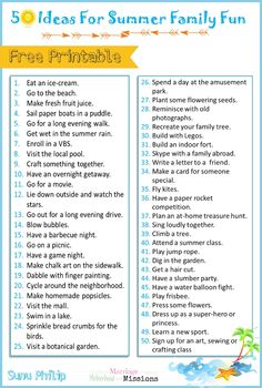Planning out your summer activities? Here are 50 ideas for summer family fun in printable format... AND a free summer bucket list printable!