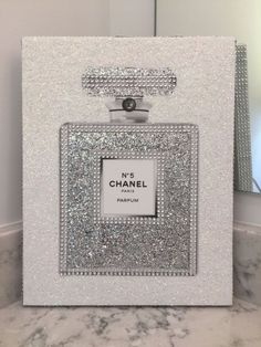 Canvas Wrapped Embellished Art Print Chanel No. 5 Perfume Bottle Sparkling Bling Glitter Rhinestone Crystals Wall Hanging 11 x 14 by PrintcessCharming on Etsy Chanel Wall Art, Chanel Canvas, Chanel Dekor, Chanel Bedroom, Chanel Bedding, Bling Bedroom, Lux Bedroom, Bedroom Canvas, Chanel Pictures
