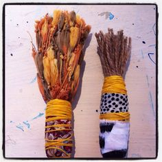 Hand made brushes with yarn and jute by Lorna Crane AUSTRALIA