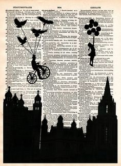 Victorian skyline, girl with balloon, birds, retro vintage dictionary page art print