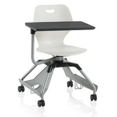 KI Learn2 Intellect Wave Mobile Tablet Arm Chair Featuring an Accessory Rack with Cup Holder