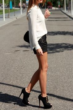 Leather shorts. shoes.shirt.