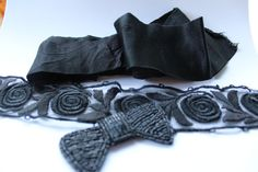 Vintage / AntiqueFrench Trim Lot Satin Mourning by TheCompanyStore