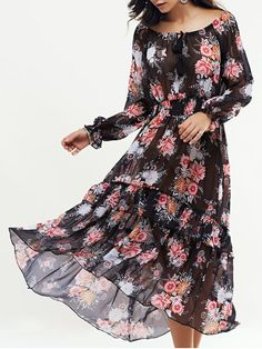 Long Sleeve Swingy Maxi Dress - BLACK M