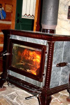 Hearthstone wood stove heats the cabin