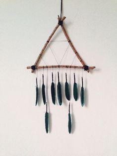 Minimalist Triangle Dreamcatcher, Bohemian, Dream Catcher, Home Decor, Wall Hanging, Earthy Tones