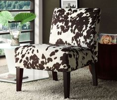Accent Chairs For Living Room Armless Deco Bedroom Chair Peterson Cowhide Fabric…