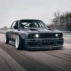BMW E30 3 series grey widebody stance