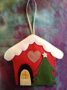 Felt Christmas house ornament