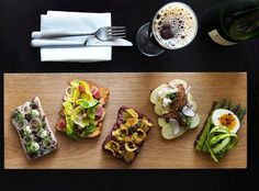 Aamans Copenhagen Arrives in NYC - The Smørrebrød, open-faced sandwiches made from dense brown rye bread artfully piled with ingredients. Danish Rye Bread, Danish Food, Lunch Restaurants, Open Faced Sandwich, Sandwiches, Scandinavian Food, Eat Smart, Snacks, Wine Recipes