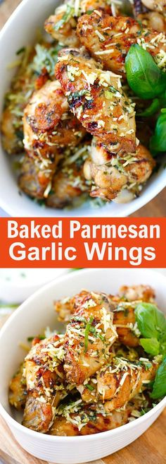 Baked Parmesan Garlic Chicken Wings – best wings EVER with parmesan, garlic, basil, and spices, with blue cheese mustard dressing | http://rasamalaysia.com