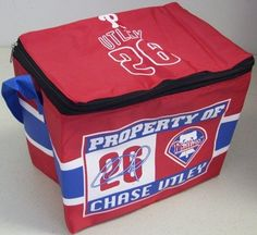 Philadelphia Phillies Chase Utley Insulated Lunch Bag Cooler by Forever Collectibles. $5.99. Full zipper closure. Fully lined, insulated vinyl interior. nylon. Adjustable shoulder strap. Officially licensed. Collapses for easy storage. Insulated Lunch Bag - Cooler by Forever Collectibles is a great way to show your team pride! Officially licensed by the team and Players Association, this convenient lunch bag features a logo on front and top as well as a fully lined, insulated vi...