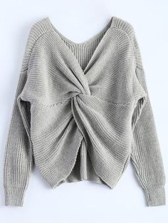 SHARE & Get it FREE | V Neck Twisted Back Sweater - GrayFor Fashion Lovers only:80,000+ Items • New Arrivals Daily Join Zaful: Get YOUR $50 NOW!