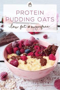Protein Pudding Oats Pimp your Porridge Protein Pudding, Pudding Oats, Protein Oatmeal, Oats Recipes, Smoothie Recipes, Dessert Recipes, Desserts, Quick Dessert, Breakfast Porridge