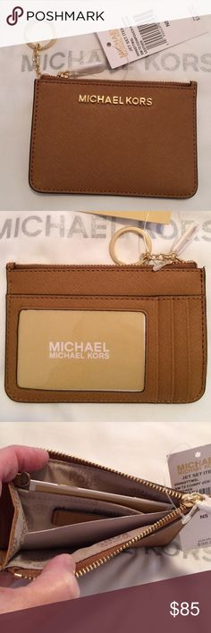 NWT Michael Kors Jet Set Card coin pouch Authentic brand new id coin pouch in saffiano leather.  Retail 98 Michael Kors Bags Clutches & Wristlets