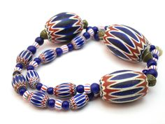 ANTIQUE 18thC VENETIAN GLASS CHEVRON TRADE BEAD AFRICAN NECKLACE, FOUND IN GHANA   £77.00 (16B)