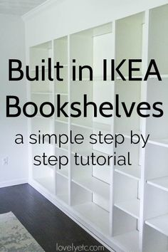 How to Build Easy Built Ins from IKEA Bookcases - Lovely Etc. A simple tutorial for turning basic IKEA billy bookcases into a gorgeous wall of built in bookshelv Built In Shelves Living Room, Office Bookshelves, Bookshelves Built In, Diy Built In Shelves, Bookshelf Styling, Book Shelves, How To Make Bookshelves, Bookshelves In Living Room, Bookcase Storage
