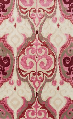Easy to fall in love with this ikat pattern hand tufted Banshee rug with hot pink + cherry accents! From Surya. (BAN-3349)