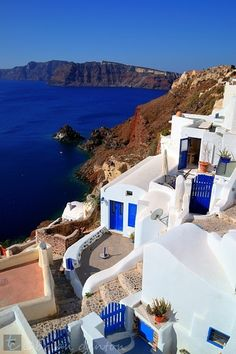 Blue Doors And Gates - Santorini, Greece