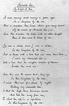 Annabel Lee by Edgar Allan Poe - Original copy of the poem (Poe, supposedly sensing his impending death, wrote several copies of the poem and passed them out to friends to ensure that it would not go unnoticed). -desertgirlsvintage