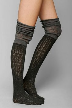 Pointelle Scrunch Over-The-Knee Sock - Urban Outfitters