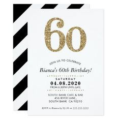 60TH BIRTHDAY PARTY INVITE modern gold glitter - glitter gifts personalize gift ideas unique