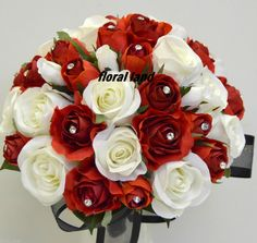 bouquet of fake flowers in red | SILK FLOWER WEDDING BOUQUET RED WHITE ROSE DIAMONTIE POSY BRIDAL