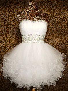 Tulle Short White Prom Dress, Homecoming Graduation Dress